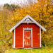 A small red cabin