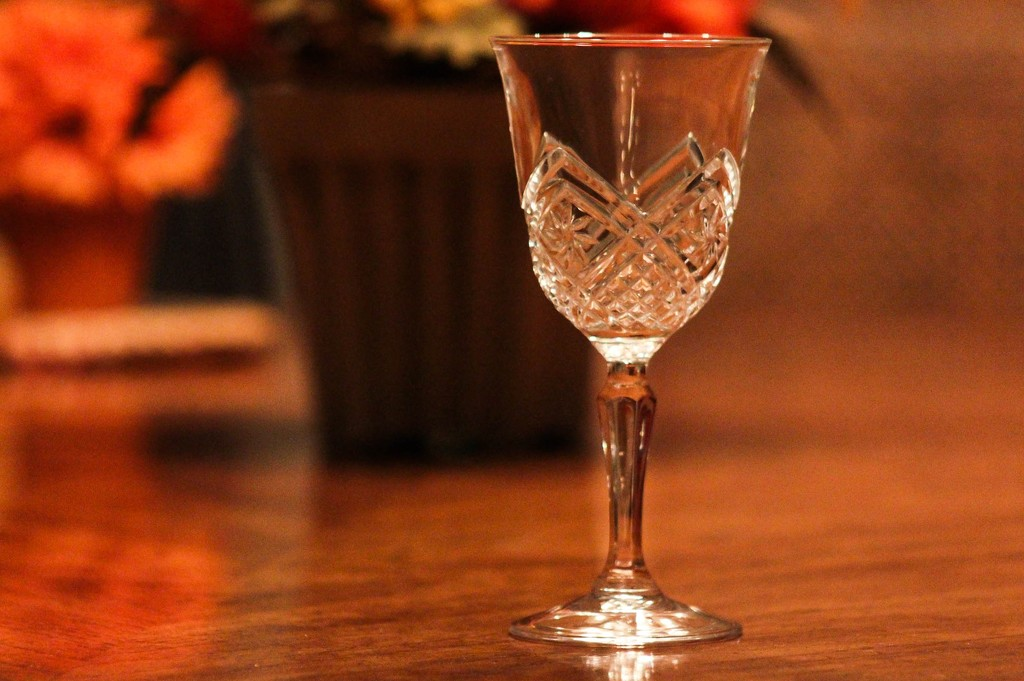 Wine glass by mittens