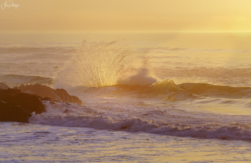 Backlit Surf As Sun Goes Down by jgpittenger