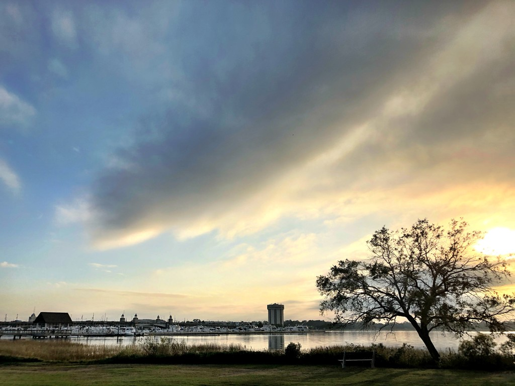 Sunset over the Ashley River at Brittlebank Park, Charleston by congaree