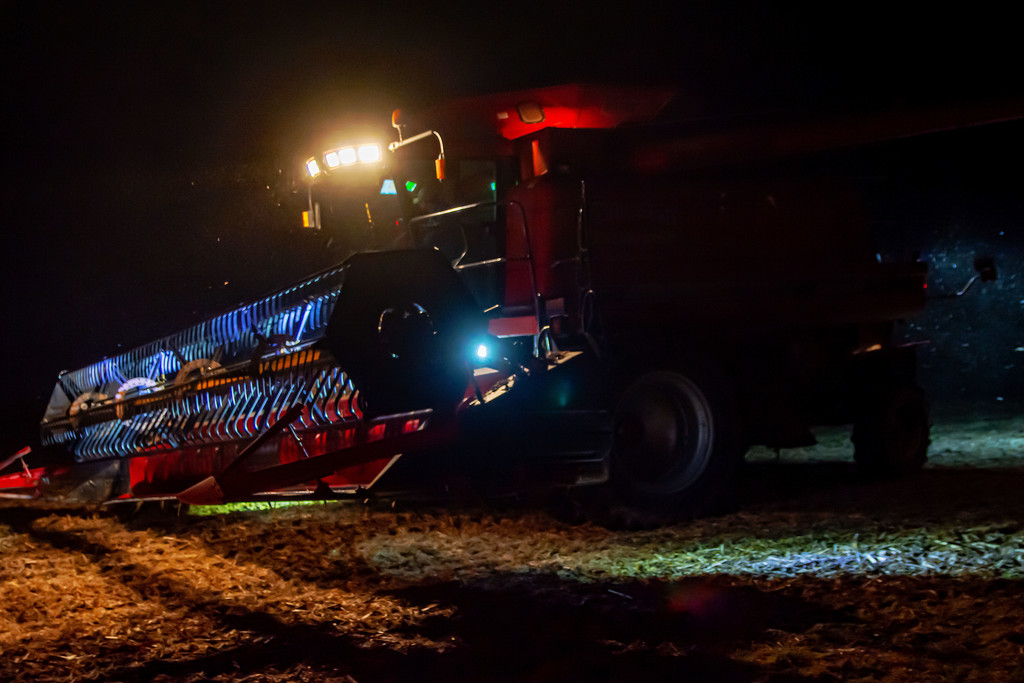 Combining At Night by farmreporter