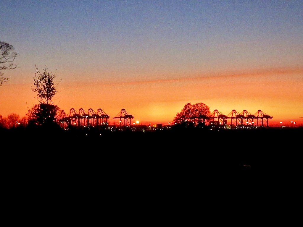 Sunset over the cranes by lellie