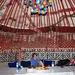 Son and husband enjoying the yurt