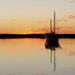 Yacht at sunset in Carnarvon by judithdeacon