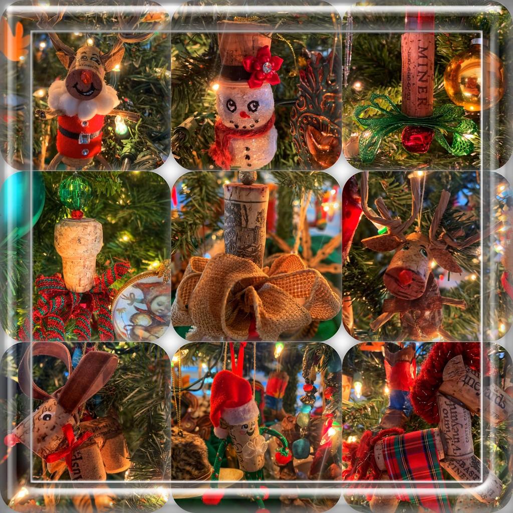 Cork Christmas ornaments by louannwarren