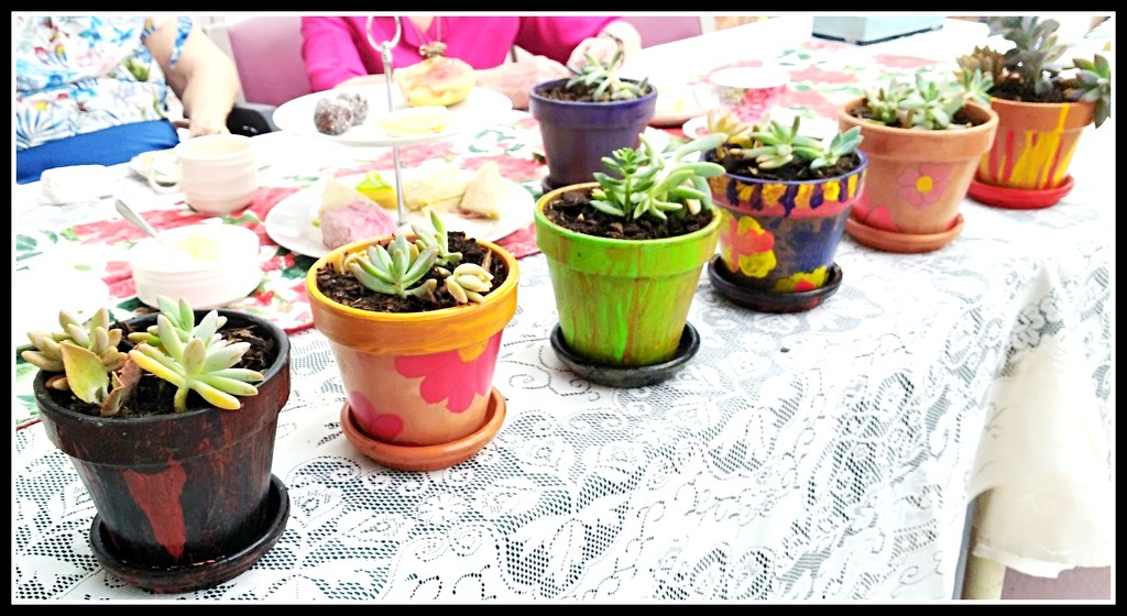 These pretty pots were painted for our singing group as a thankyou by 777margo