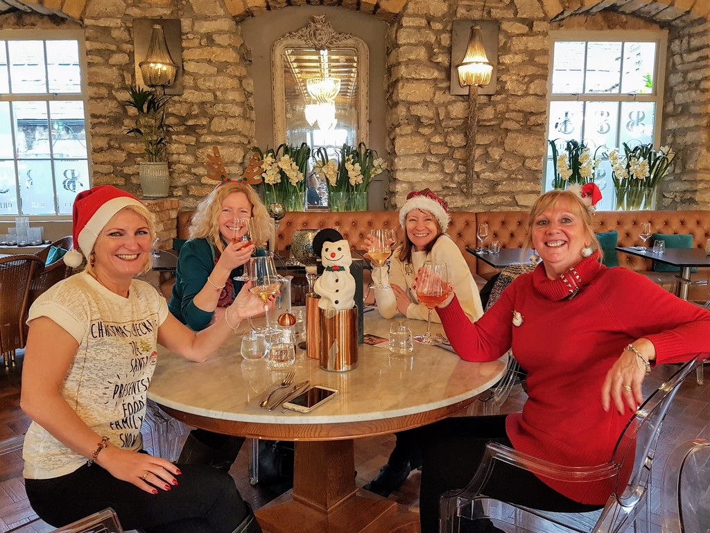 Here we are enjoying a glass of wine with our snowman!  by lyndamcg