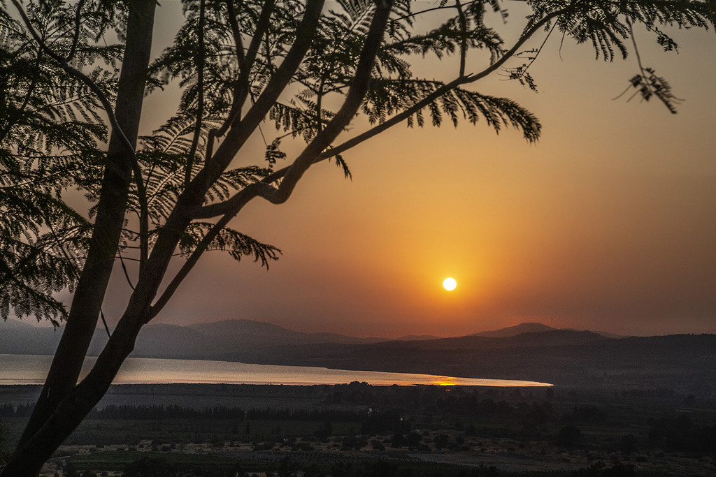 Sunset over Lake of Galilee by pdulis