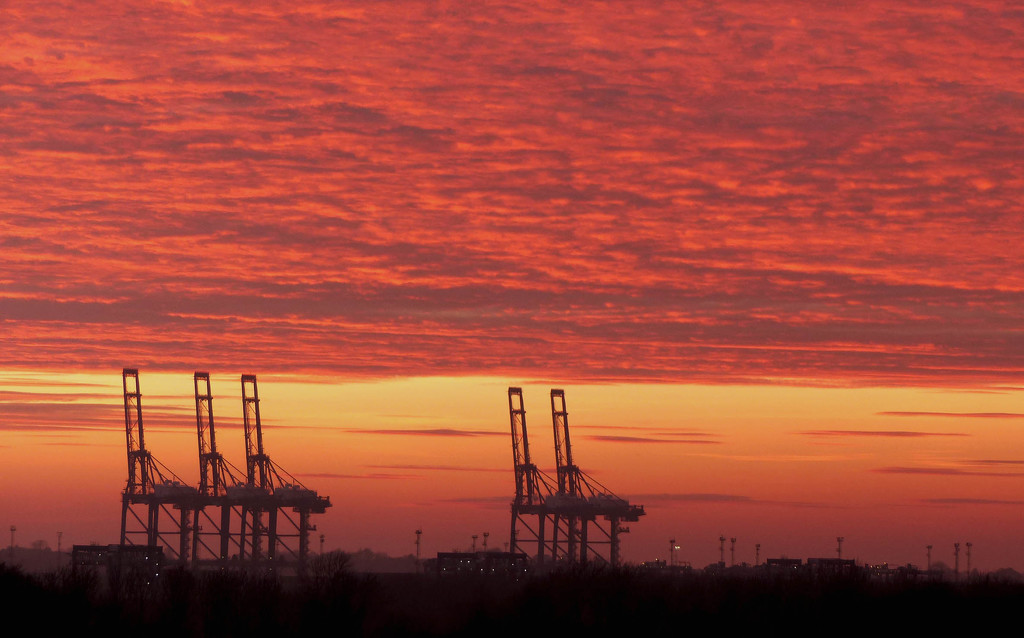 Sunset over the docks by judithdeacon
