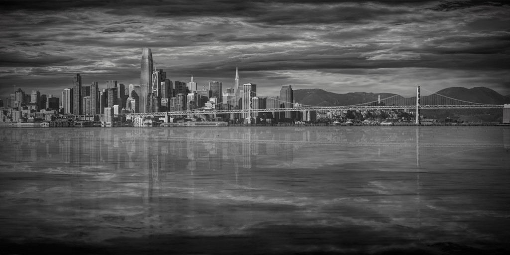 San Francisco Skyline (winter cloudy view) by mikegifford