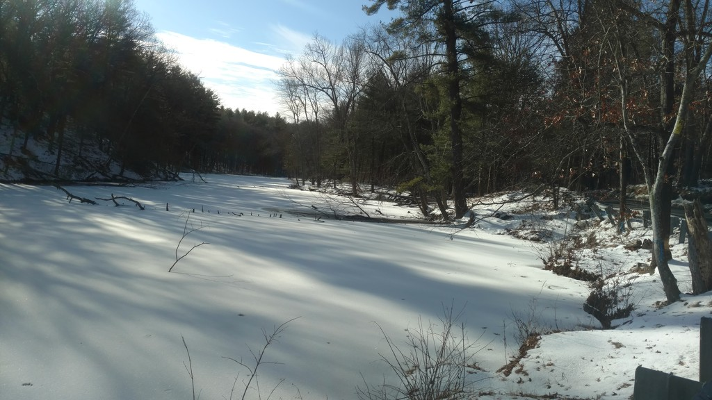Blue skies over frozen river by dianezelia