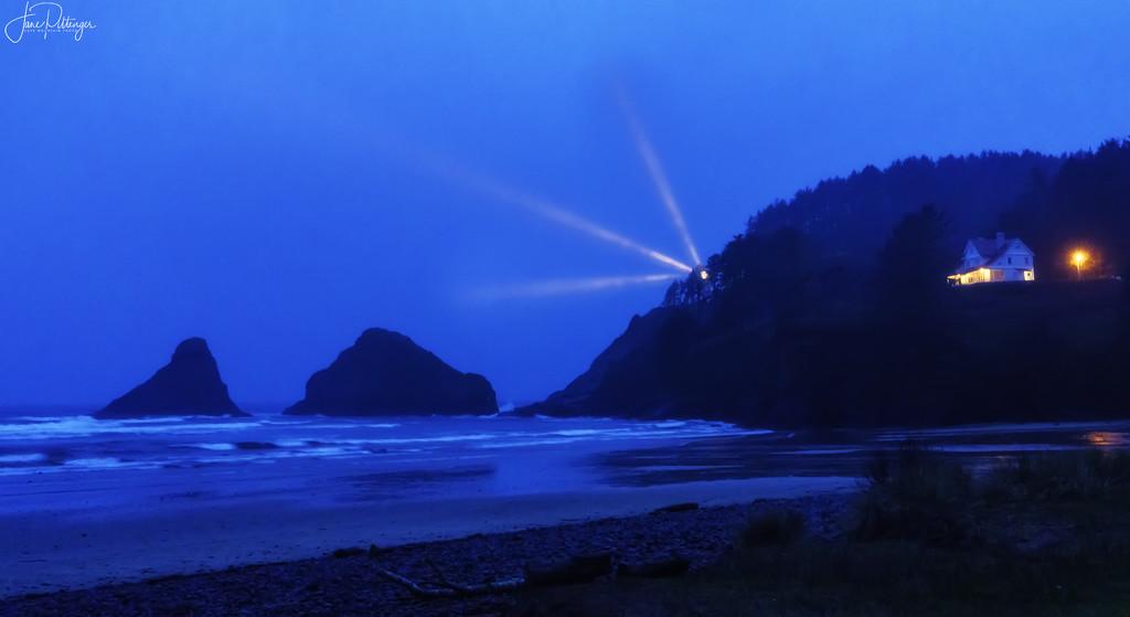 Twilight Lighthouse Beams by jgpittenger
