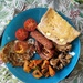 Halloumi and veggie sausage brunch