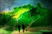 23rd Jan 2020 - Walking Fido in the Cauliflower Leaf Forest