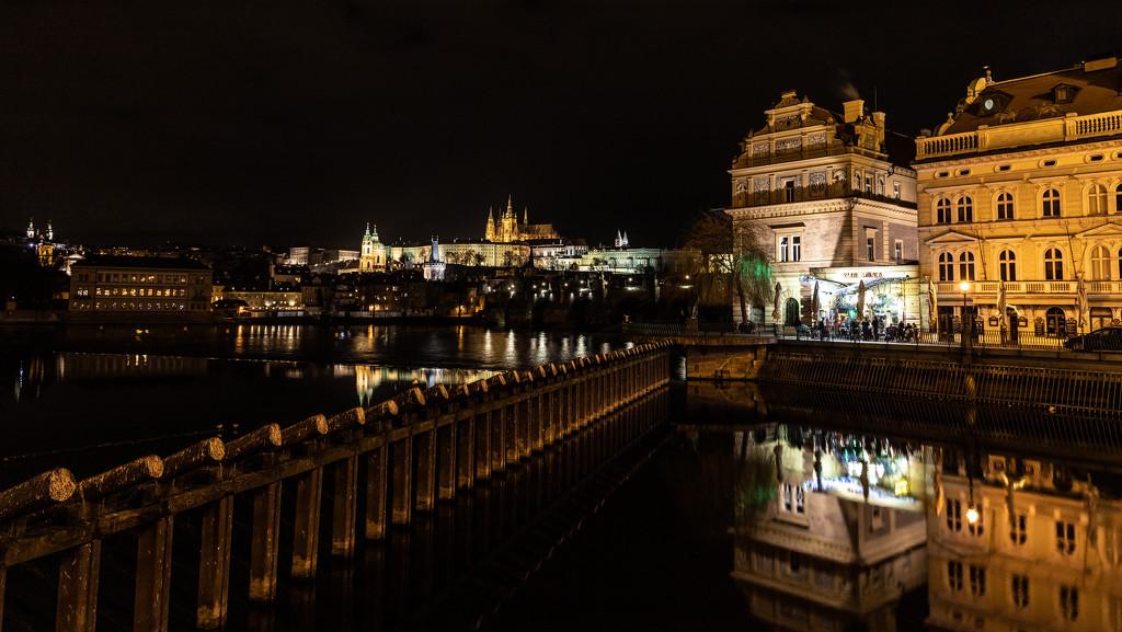 Prague Castle Across the Vlatava River by jyokota