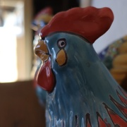 """25th Jan 2020 - May I present the lovely aqua Mexican Talavera rooster, for my """"Macro Guess #3"""" reveal"""