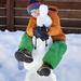 Hugging the snowman