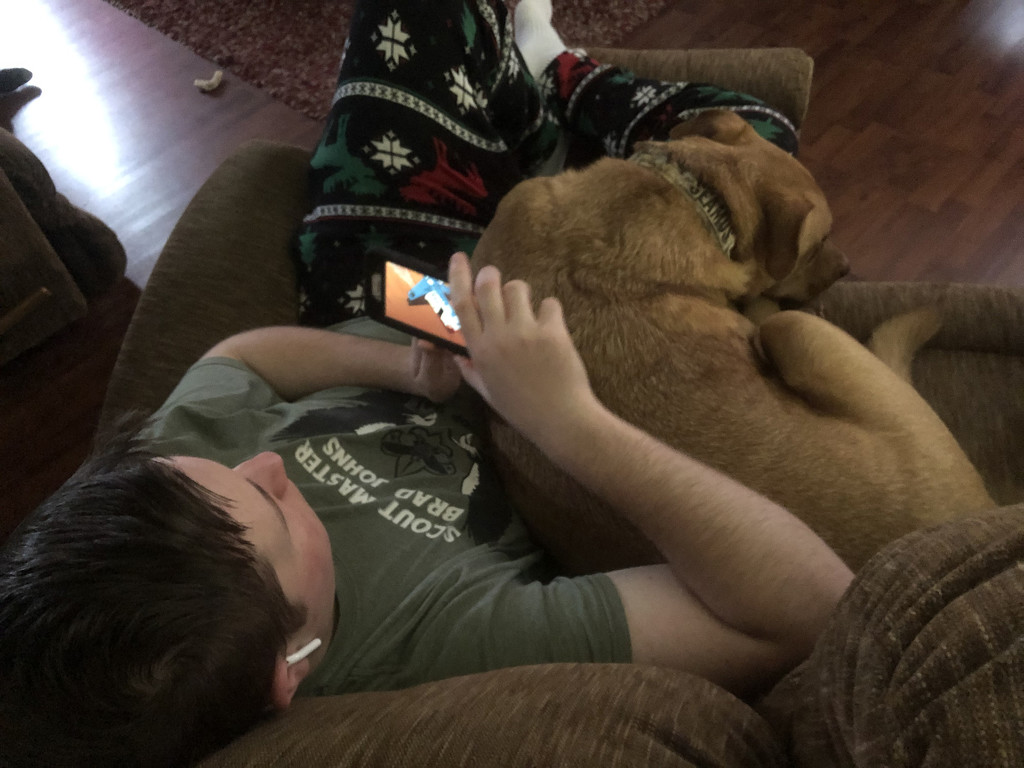 A boy and his dog by homeschoolmom