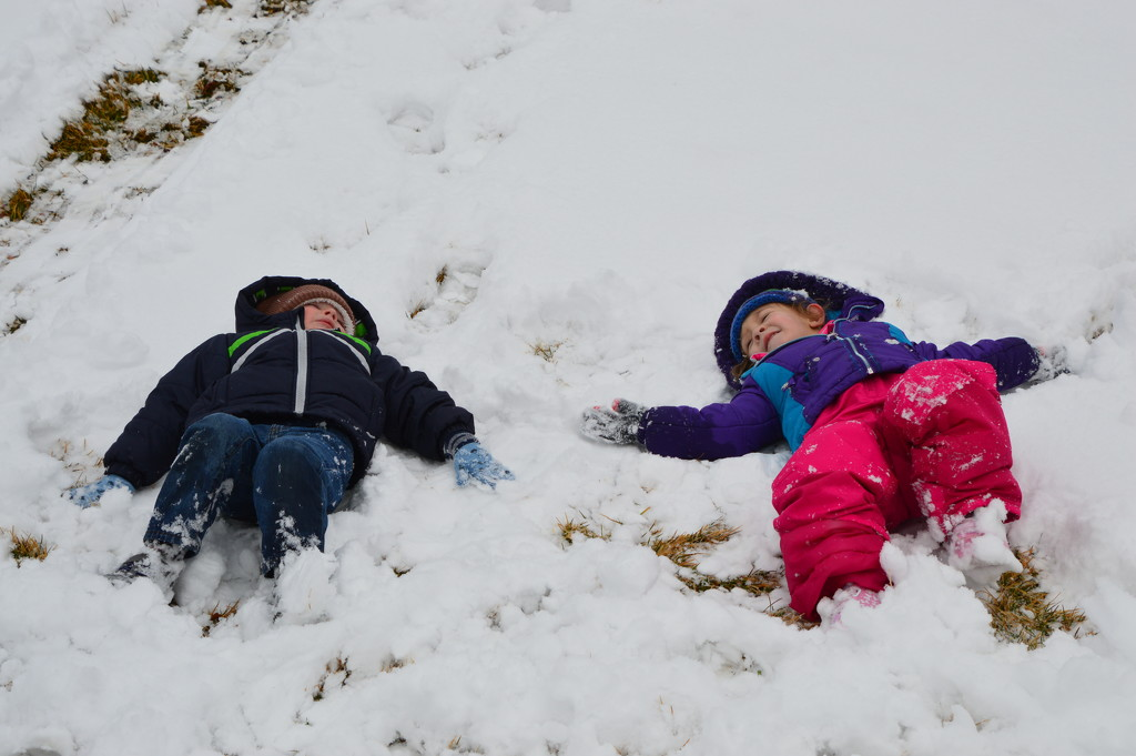 Our Youngest Two Grandchildren In Snow by bigdad