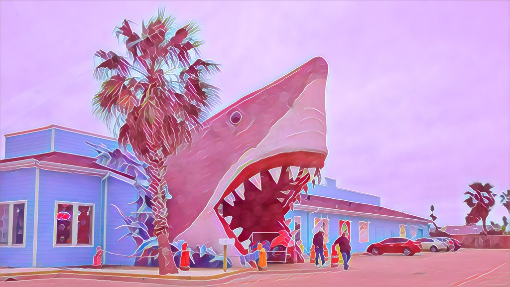 The Port Aransas Great White Shark for Flamingo Friday  by louannwarren
