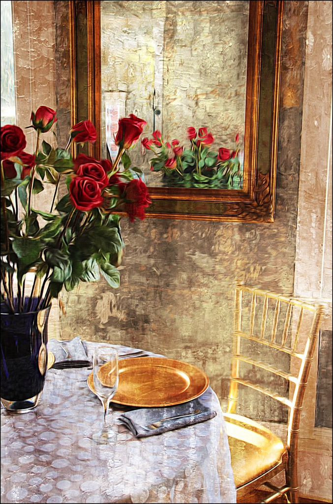 Red Roses in a Black Vase by olivetreeann