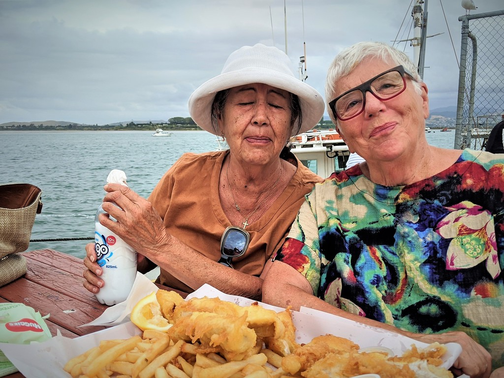 Pouting over Fish and Chips by sandradavies