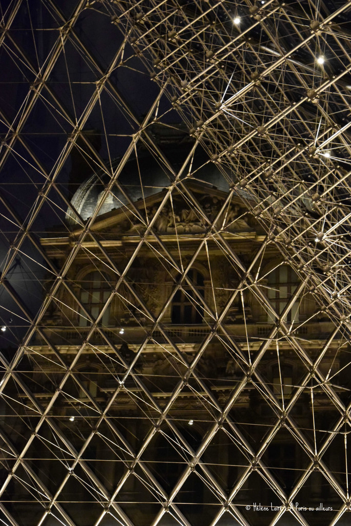Louvre from inside the Pyramide  by parisouailleurs