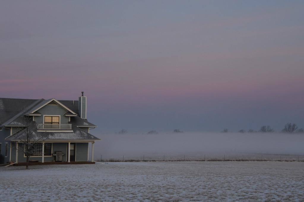 Fog, Snow, and Kansas Farmhouse by kareenking