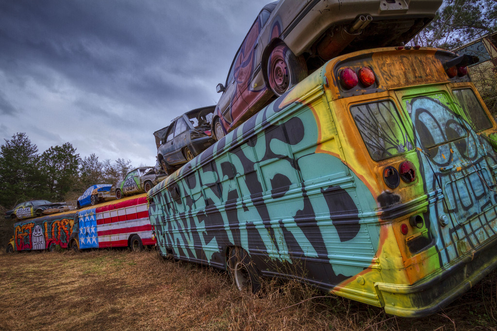 School Bus Graveyard by kvphoto