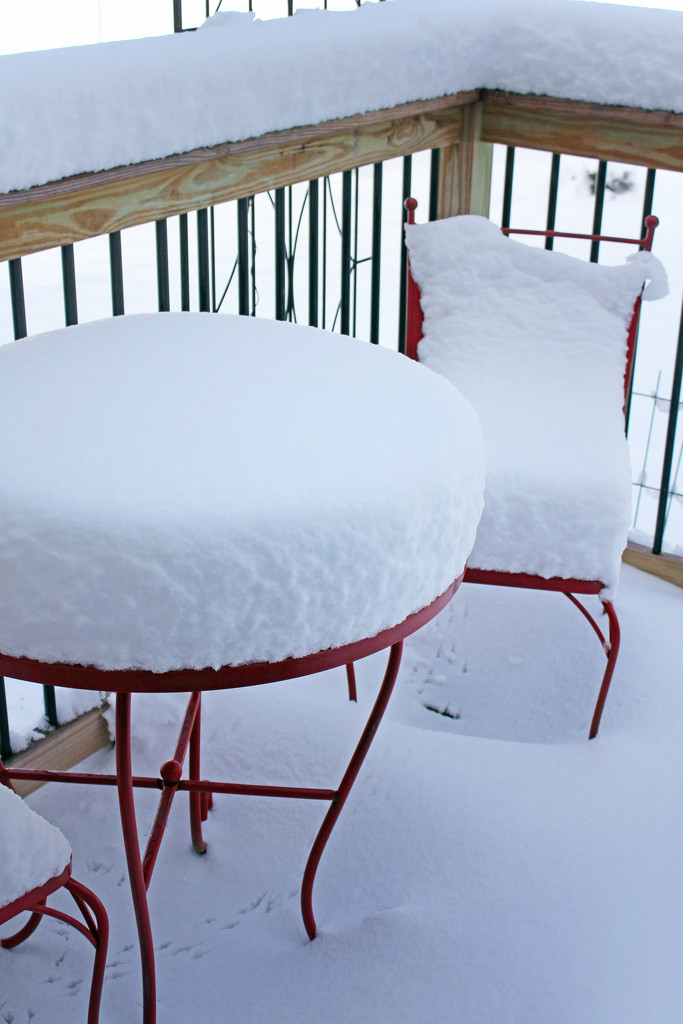 Snow Covered Bistro Set by paintdipper