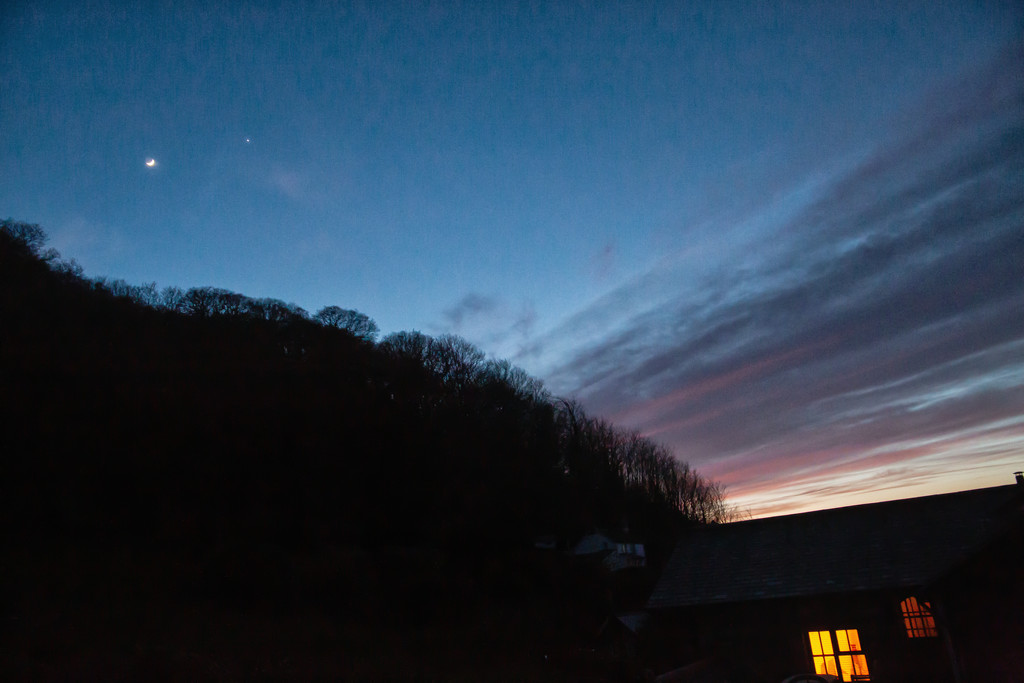 Moon and Venus at sunset  by pamknowler
