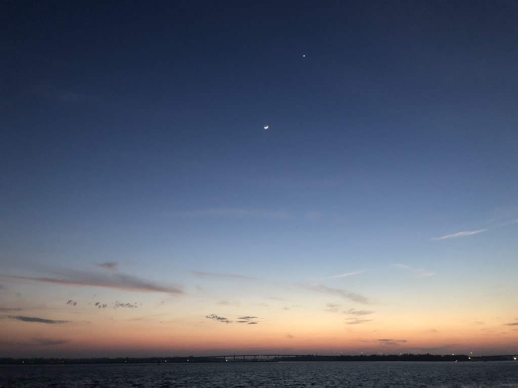 Moon at sunset over the Ashley River, Charleston by congaree