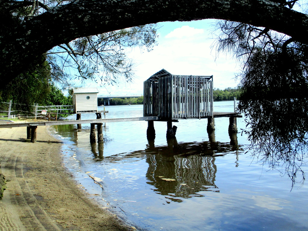 Boatsheds on the Maroochy River that got damaged during the high tide flood by 777margo
