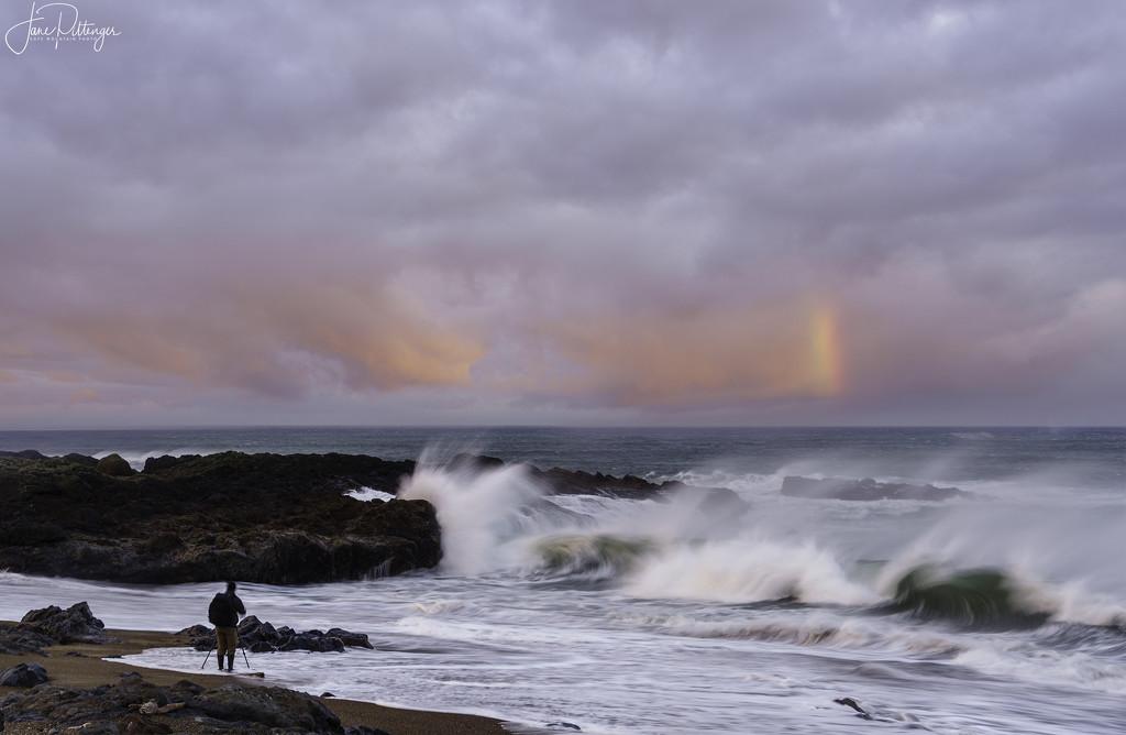 Yachats High Surf Dawn by jgpittenger