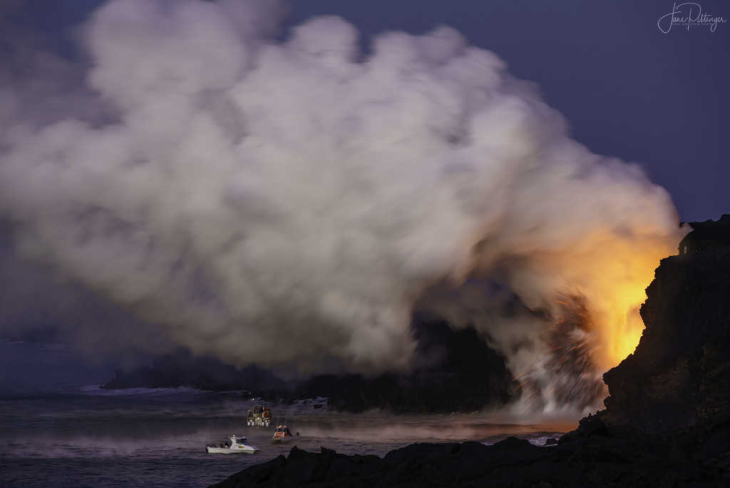 Tour Boats Approaching Volcano Fire by jgpittenger