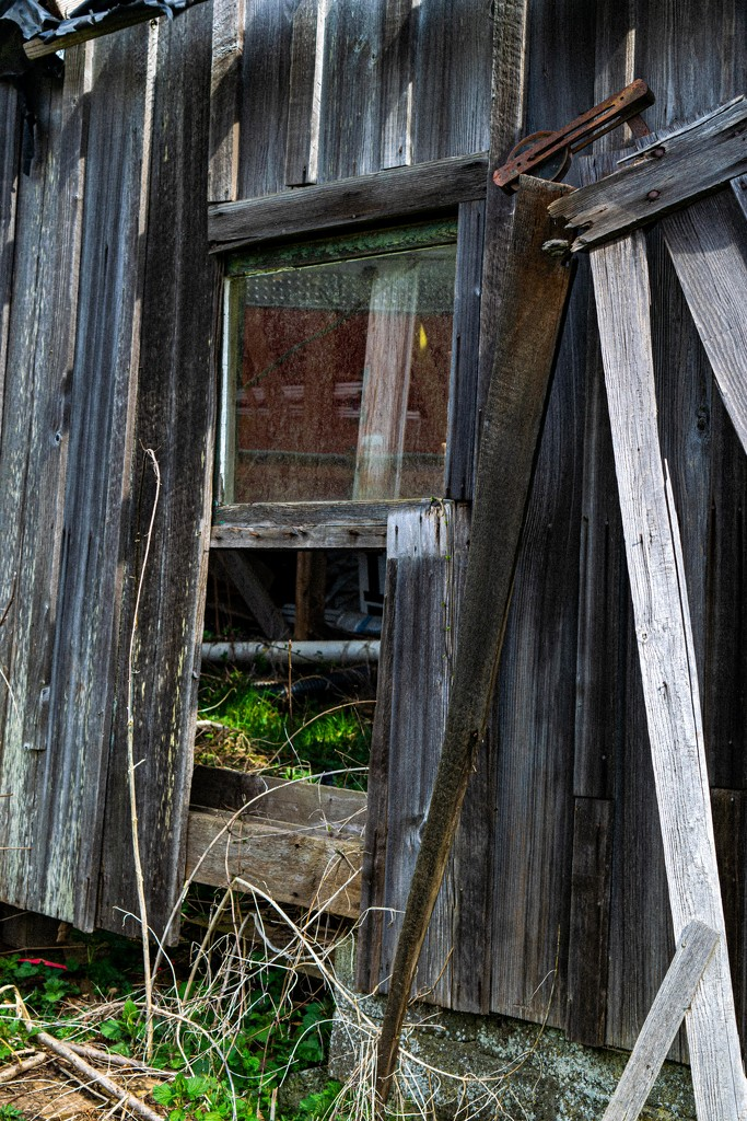 Old barn wall and window by theredcamera