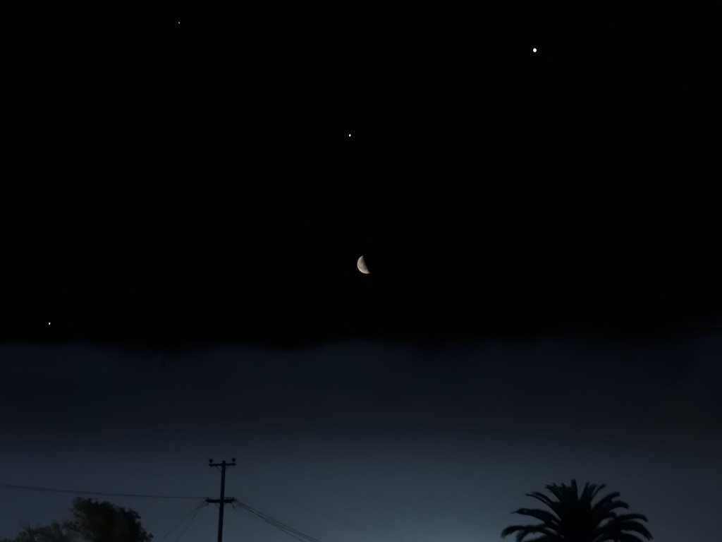 Jupiter - Saturn - Mars and the Moon Lineup by mikegifford