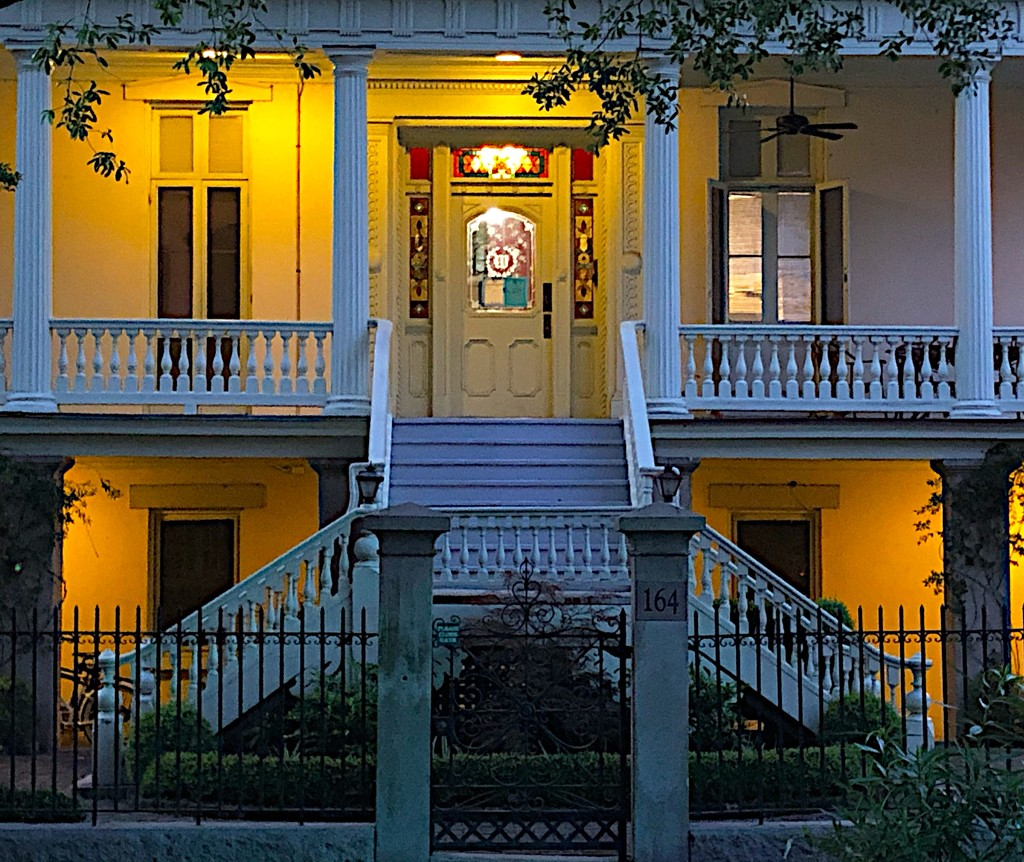 Front entrance to an elegant old home in the historic district of Charleston by congaree