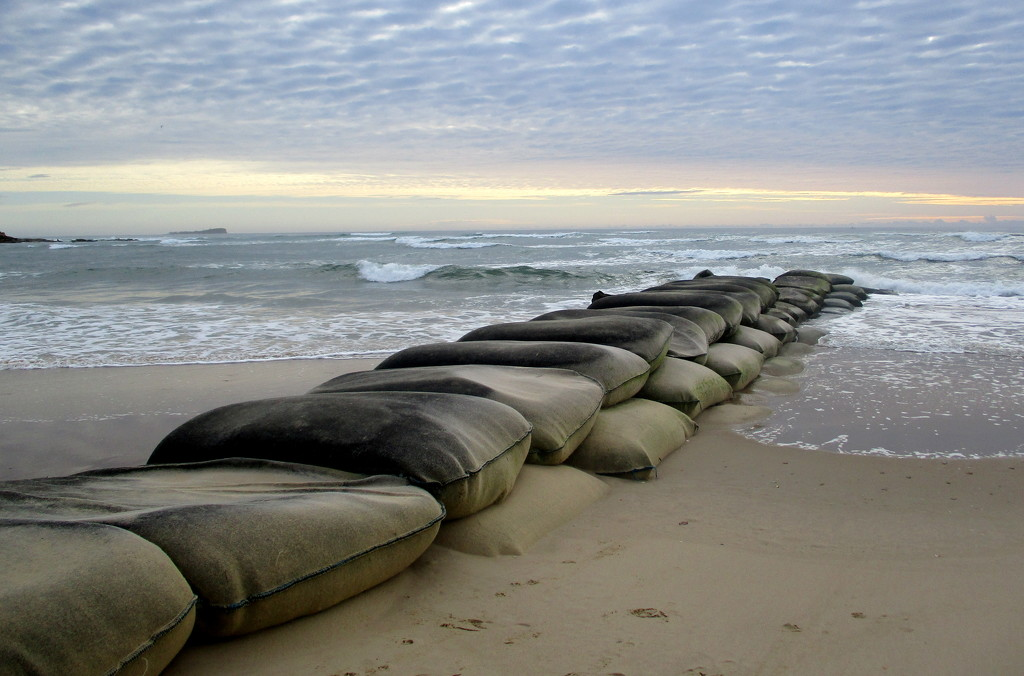 Sandbag Barrier at the mouth of the Maroochy River by 777margo