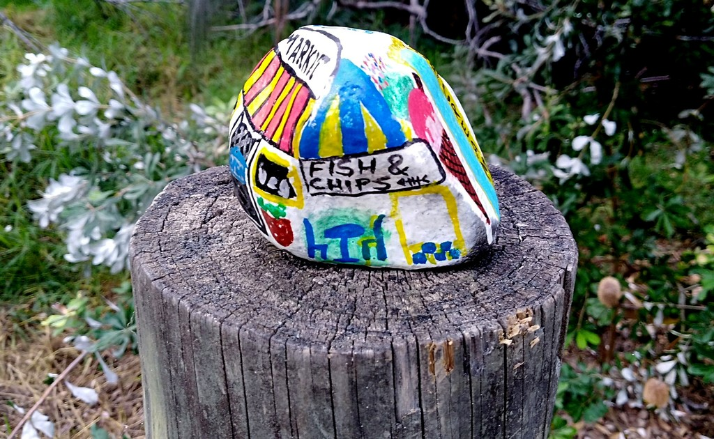 Painted stone on the post by 777margo