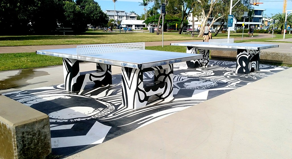 Interesting  street art in the table tennis section of the park by 777margo