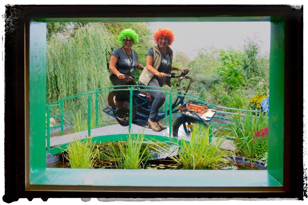 2 Ladies Go Cycling in Monet Gardens  by photopedlar