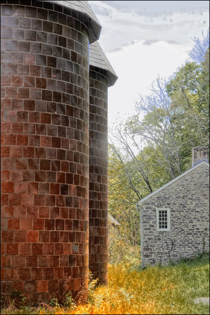 Two Silos in Spring by olivetreeann