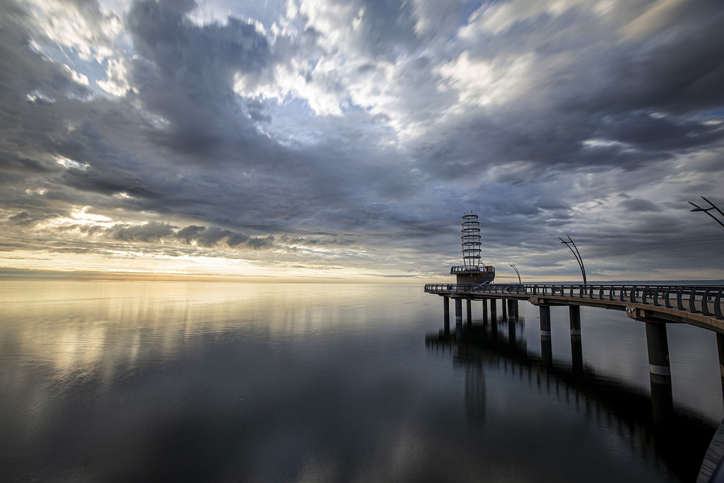 Sunrise over Brant Street Pier by pdulis