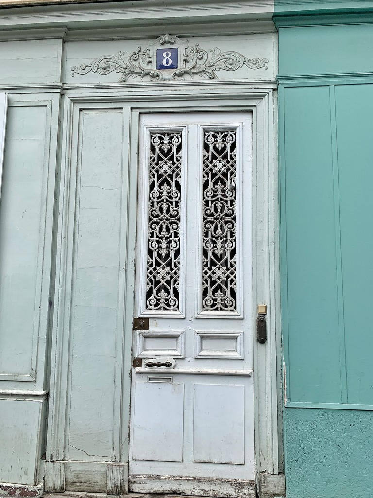 Door with hearts at number 8.  by cocobella