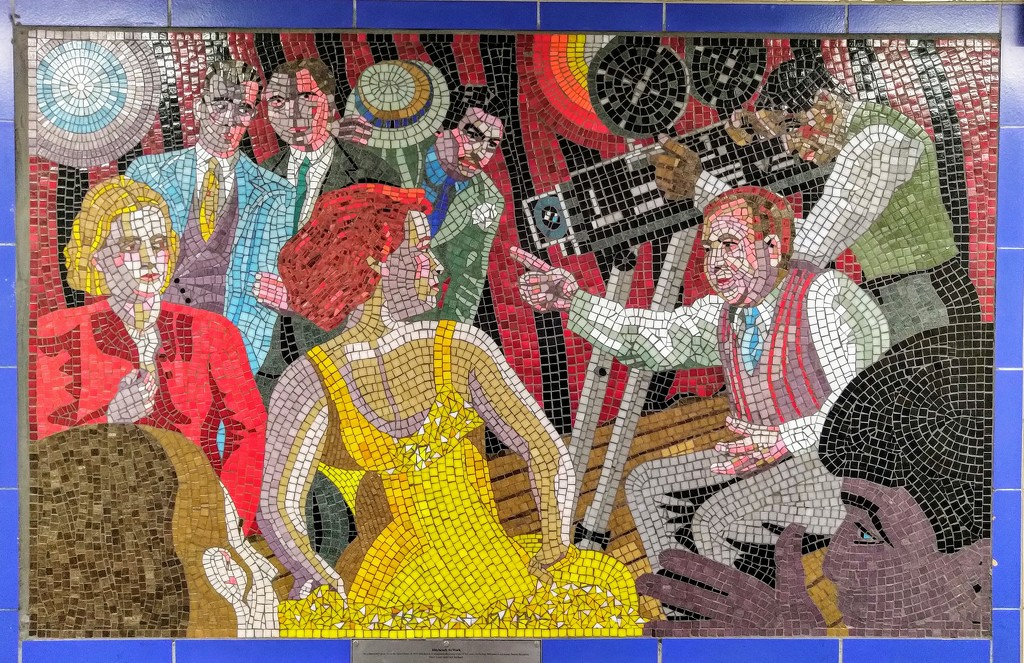 Alfred Hitchcock mosaic, Leytonstone by boxplayer