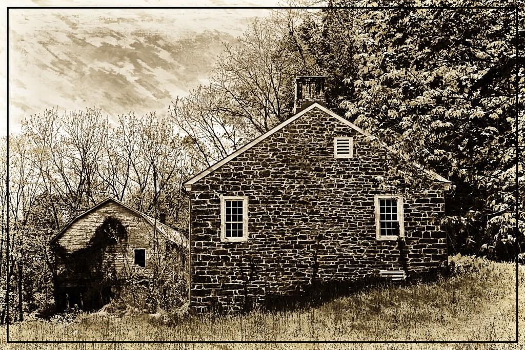 Old Farmhouse and Barn by olivetreeann