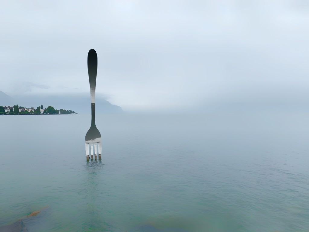 Long exposure lake with a fork.  by cocobella