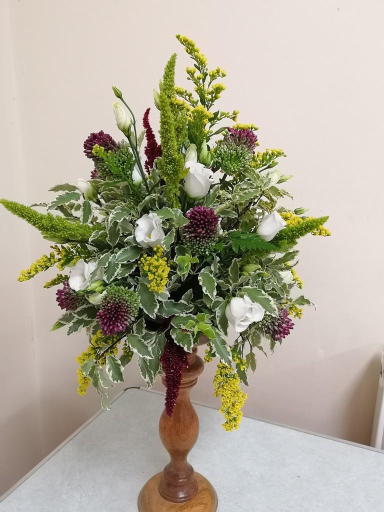 Flowers on a pedestal  by plainjaneandnononsense