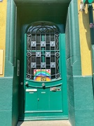 22nd Jun 2020 - Two hearts and a rainbow on a green door.